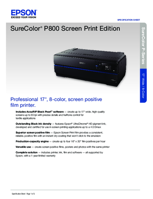 Download For 17 SureColor P800 Screenprint Edition Printer Epson