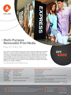 Download For Arlon DPF 4300 Calendered Vinyl PSA Print Media