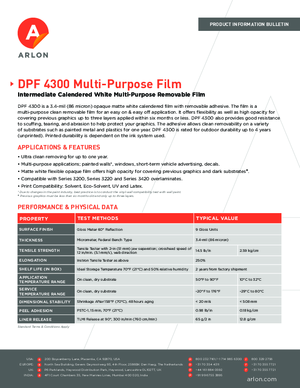 Product Specs For Arlon DPF 4300 Calendered Vinyl PSA Print Media