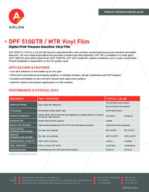 Spec Sheet For Arlon DPF 510GTR DPF 510MTR Calendered Vinyl PSA Print Media