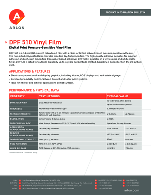Spec Sheet For Arlon DPF 510G DPF 510M Calendered Vinyl PSA Print Media