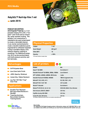 Spec Sheet For Sihl PolySOL 3515 One Sided Roll Up Banner Print Media