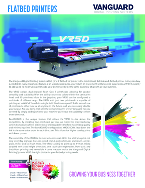 Brochure For Vanguard Digital Printing Systems VR5D Series 4x8 Flatbed UV Printer Printers Hardware