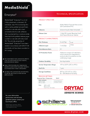 Data Sheet For Drytac MediaShield Emerytex Heat Activated Overlaminating Film