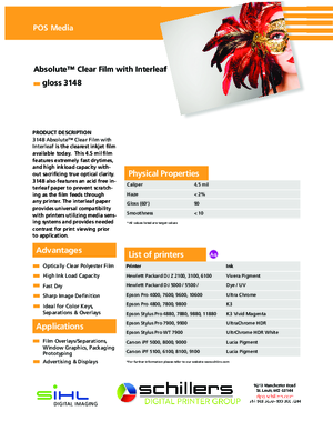 Spec Sheet For Sihl 3148 Absolute Clear Film Print Media